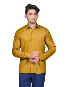 S9 Men Solid Formal Cotton Blend Shirt For Men(Mustard)  -S9-FS-253H Casual