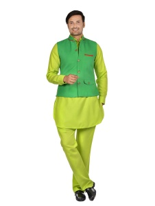 Forge'ko Contrast Parrot Green & red trims Jacket with Lime Green Pathani Kurta Pyjama Jacket Set
