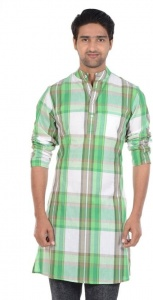 S9 MEN Checkered Men's A-line Kurta  (Multicolor) S9-MK-602C