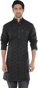 S9 MEN Embroidered Men's A-line Kurta  (Black) S9-MK-610B