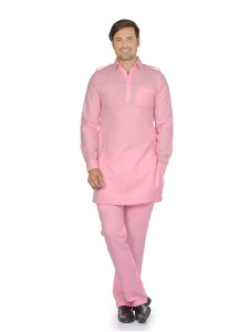 S9 Men Pink Solid Pathani Kurta Pyjama