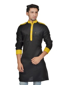S9 Men Black & Yellow Color Solid A-Line Kurta