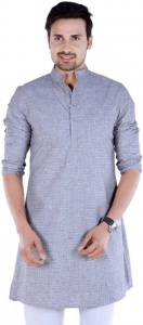 S9 Men Grey Solid Self Design Straight Kurta
