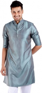 S9 MEN Solid Men's Straight Kurta (Blue-Silver) S9-MK-204D