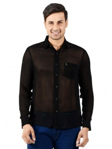 S9 Men Solid Casual Shirt For Men (Black) S9-FS-NIC-03