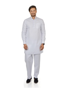 S9 Men Parthi White Color Pathani Suit- Kurta Pyjama (With Cuff)