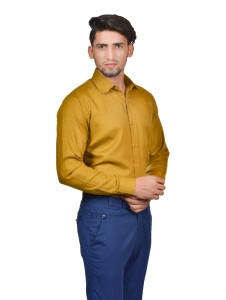 S9 Men Solid Formal Cotton Blend Shirt For Men(Mustard)  -S9-FS-253H2