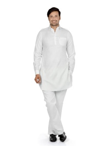 S9 Men Milky White Solid Pathani Kurta S9-M-PK-203D