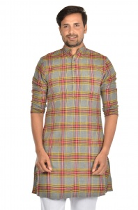 S9 Men  cotton checks Kurta