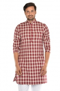 S9 Men High Summer cotton checks Kurta  (1)