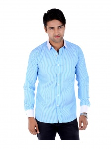 S9 Men's Solid, Striped Formal Shirt (sea blue White) S9-FS-209F