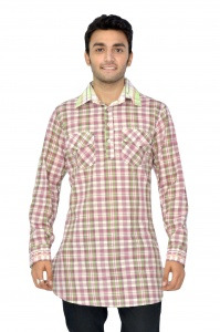 S9 Men Earthy Green Pink 2 pocket Pathani   Kurta S9-MK-13-002