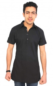 S9 Men 100 % COTTON THIN VOILE 2 TONE Over dyed Black Kurta  S9-MK-13-003