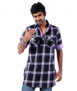 S9 Men Navy Blue & Purple Checked Pathani Straight Kurta
