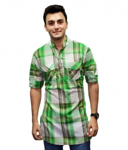 S9 Men Green & White Pathani Straight Kurta