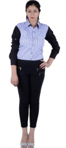 S9 Women's Checkered, Solid Casual Black, White, Blue, Purple Shirt_S9-W-FS-2005_Black, White, Blue, Purple