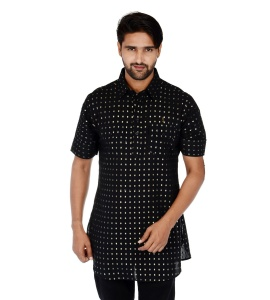 S9 Men Black & Silver Dot Pathani Kurta