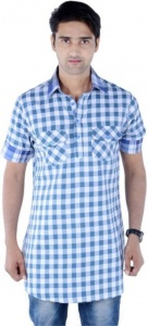 S9 Men Blue & White Checked Pathani Kurta