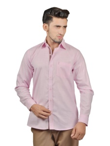 S9 Men Solid Casual Cotton Blend Shirt For Men(Light Pink)  -S9-FS-254A
