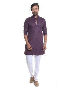 S9 Men Wine  A-line Kurta Pyjama Set