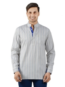 S9 Men Blue & Brown Striped Short Kurta