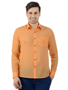 S9 Men Solid Casual Shirt For Men (Light Orange) S9-FS-NIC-05