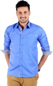 S9 Men's Solid Casual Blue Shirt S9-FS-211F