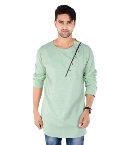 S9 Men Green Self Textured Angrakha Kurta
