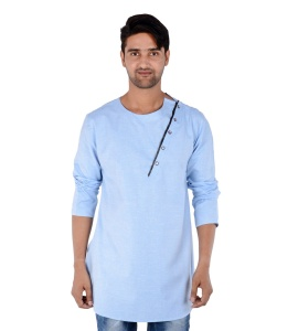 S9 Men Blue Self Textured Angrakha Kurta