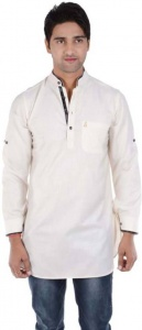 S9 Men Ivory Solid Pathani Kurta