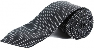 Uni Carress Polka Print Men's Tie (Black) RA-TY-104D