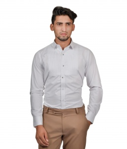 S9 Men White Cotton Blend Tuxedo Shirt