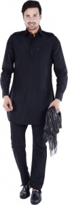 S9 Men Black Solid Pathani Kurta