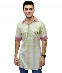 S9 Men Light Green & White Checked Pathani Kurta