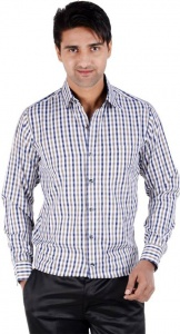 S9 Men's Checkered Casual Shirt (Brown,s) S9-FS-215