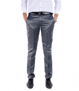 S9 Men Silver Grey Formal Trouser