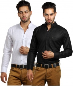 S9 Men's Solid, Self Design Casual Black, White Shirt (Pack of 2) S9-FS-COMBO-219A-219B