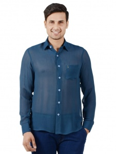 S9 Men Solid Casual Shirt For Men (Blue) S9-FS-NIC-06