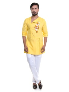 S9 Men Yellow Ivory Kurta Pyjama Set with Pocket square & Brooch