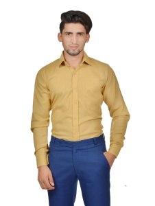 S9 Men Solid Formal Cotton Blend Shirt For Men(Beige)  -S9-FS-256B2