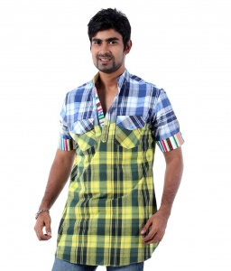 S9 Men Blue & Yellow Checked Pathani Straight Kurta