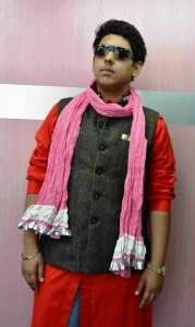 Uni Carress Men Crinkle Cotton Scarves with Contrast borders -UC-Crinkle Party-scarves-1d Pink