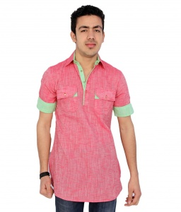 S9 Men Pink Pathani Straight Kurta