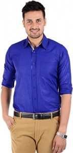 S9 Men Solid Casual Shirt For Men (Dark Blue) S9-FS-211A