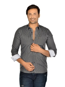 S9 Men Solid Casual,Semi- Formal Polyester Blend Shirt For Men(Black White)  -S9-FS-370C