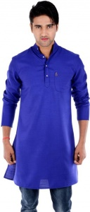 S9 MEN Solid Men's Straight Kurta  (Dark Blue) S9-MK-201B