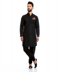 S9 Men Silky Cotton Based Aline Nawaabi Black Kurta  with Churidaar Pajama & Pocket Square