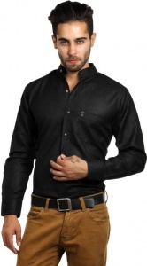 S9 Men's Self Design Formal Black Shirt S9-FS-219A