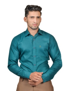 S9 Men Solid Formal Cotton Blend Shirt For Men(Peacock Green)  -S9-FS-253A2
