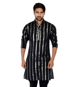 S9 Men Black & Silver Line Solid Straight Kurta